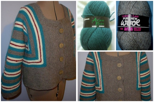 2008 - I discovered Elizabeth Zimmermann. After numerous baby surprises in odds and ends of DK I upped it to Aran and converted the pattern to my size (there's now a pattern that does that for you) I still have this and still wear it regularly. It's been on many a campsite in the mountains for chilly nights. The Vintage Aran yarns have held up so well.