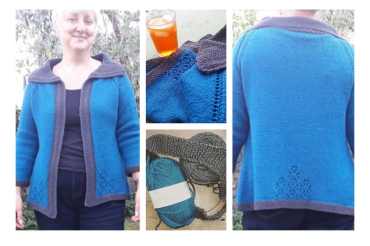 2017 - Vodka Lemonade by Thea Colman in Charity shop falcon natural Choice DK 100% wool and leftovers of grey from the yoke sweater