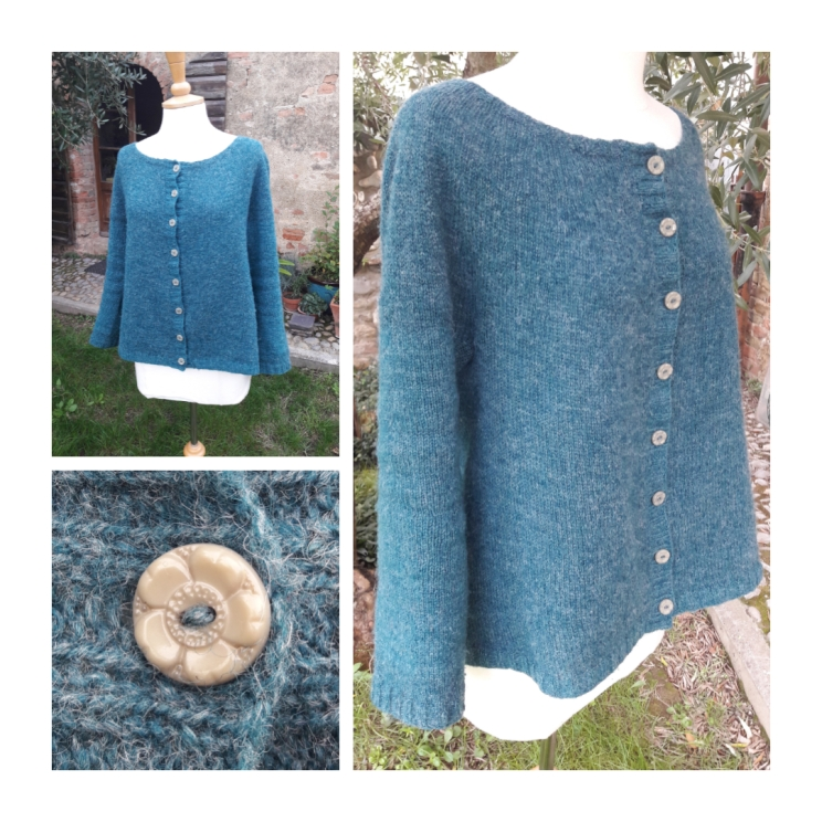 2018 - Yoked cardigan in Teal/grey gifted vintage hanks of yarn - all used up - and finished with vintage buttons
